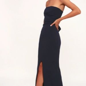 Lulu's Own the Night Navy Blue Maxi Dress